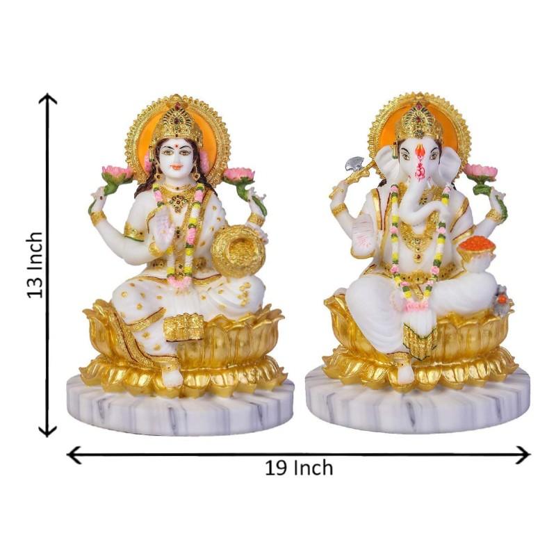 Marble Dust Resin Statue Combo Of 2 Goddess Lakshmi Ganesha Saraswati God Ganpati Idol Home Decor Showpiece 33 Cm White Gold Indibasket